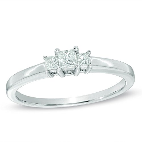 0.58 Carat Three Stone Wedding ring for sale with Princess cut Diamond on 18K White gold