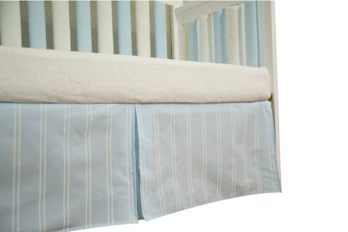 Go Mama Go Designs Box Pleat Crib Skirt, Blue/Cream Stripes, 16""
