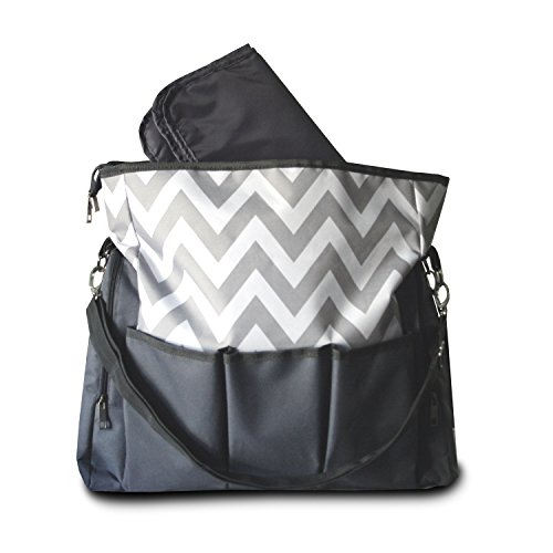 Best Designer Chevron Messenger Baby Diaper Bags, Ideal for Organizing all Babies Essentials, at Home, Travelling, or Hanging on your Stroller, including Changing Pad / Mat. 60 Day Money Back, Satisfaction Guaranteed