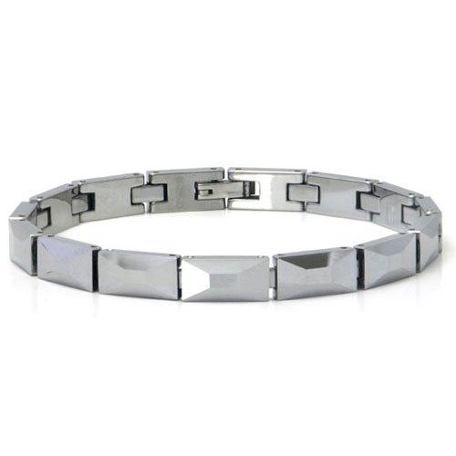Men's Diamond Cut Tungsten Carbide Link Bracelet 8