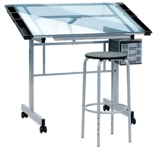 Studio Designs 2-Piece Vision Rolling Glass Drafting Table with Metal Support Bars 10055