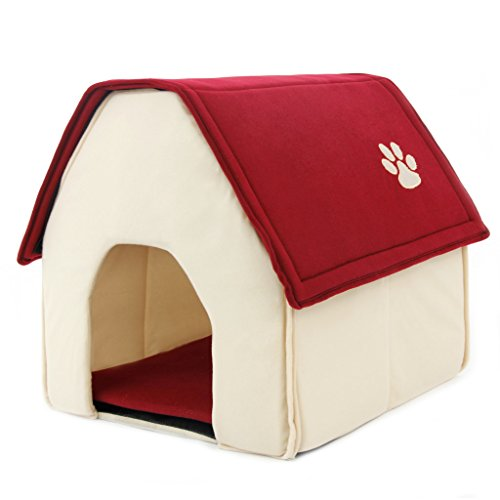 Pawz road dog house for medium and small pets red roof for Dog bed roof