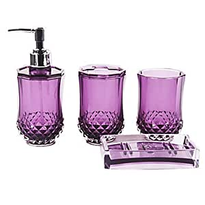Bath ensemble 4 piece solid purple acrylic bathroom for Bathroom accessories acrylic