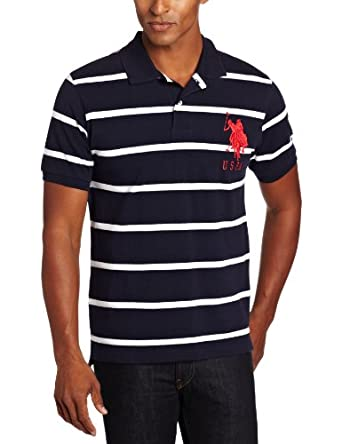 U.S. Polo Assn. Men's Narrow Striped Polo With Big Pony, Classic Navy/White, Large