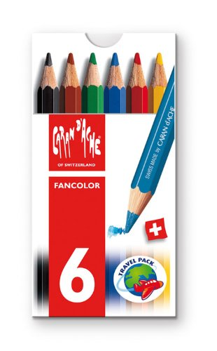 Caran d'Ache Fancolor Color Pencils, 6 Colors, Mini Pencils - 1