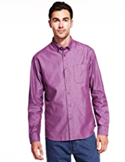 Pure Cotton Button-Down Collar Shirt