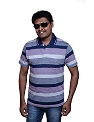 Polo Neck Half Sleeve Casual Stripes T-shirt For Men By ZISTA