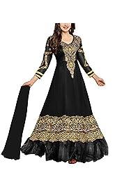 Vibes Women Gorgette Salwar Suit Dress Material (V168-36000E -Black -Free Size)