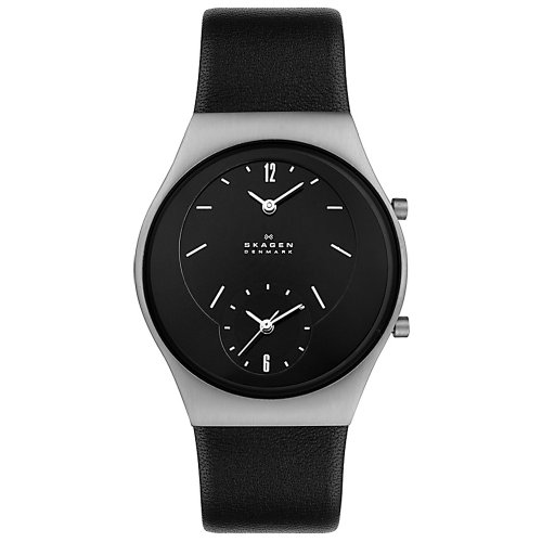Skagen Midsize 733XLSLB Steel Collection Dual Time Black Leather Watch