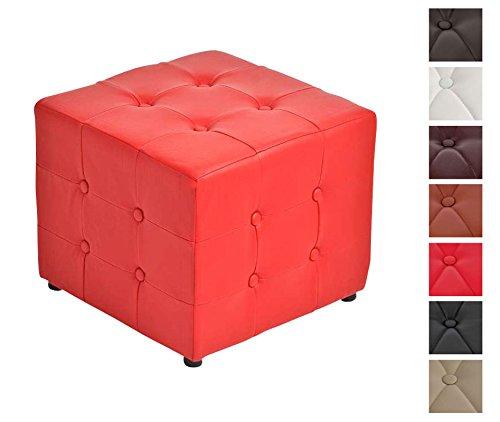 CLP-Polster-Hocker-CUBIC-44-x-44-cm-mit-Kunstleder-bezogen-aus-bis-zu-7-Farben-whlen-Hhe-38-cm-rot