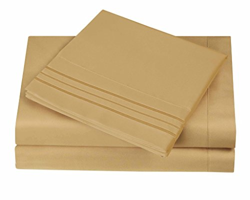 1800 Series Egyptian Collection 3 Line Microfiber 4 Piece Bed Sheet Set (Cal King, Camel) (Linen Sheets Split King compare prices)