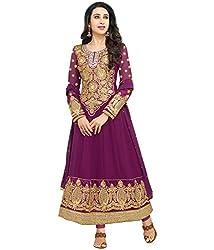 Maruti Creation Women's Georgette Semi-stitched Anarkali Suit Dress Material (MC1018_FREE_SIZE_PINK/RANI)