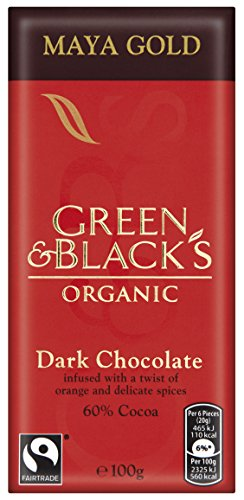 Green & Black's Organic Maya Gold Dark Chocolate Bar, 100g (Pack of 5)