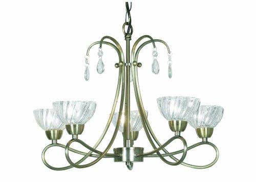 Oaks Lighting 5 Light Pearl Ceiling Fitting, Antique Brass