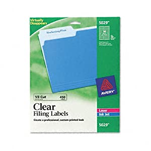 Avery 5029 - Self-Adhesive Filing Labels, 1/3 Cut, 2/3 x 3-7/16, Clear, 450/Pack