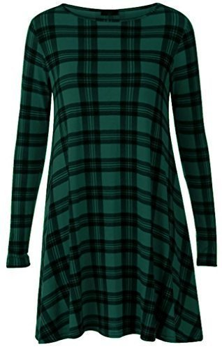 NEW WOMEN LONG SLEEVE TARTAN SWING FLARED DRESS CHECK LONG SLEEVE DRESS TOP PLUS UK SIZE 8-26 (L/XL 16-18, DARK GREEN)