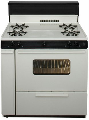 Premier-SLK240TP-Biscuit-36-Electronic-Spark-Gas-Range-with-39-Cu-Ft-Capacity-Four-Cooktop-Burners-10-Tempered-Black-Glass-with-ClockTimer-Lift-Up-Top-and-Windowed-Oven-Door-with-Interior-Oven