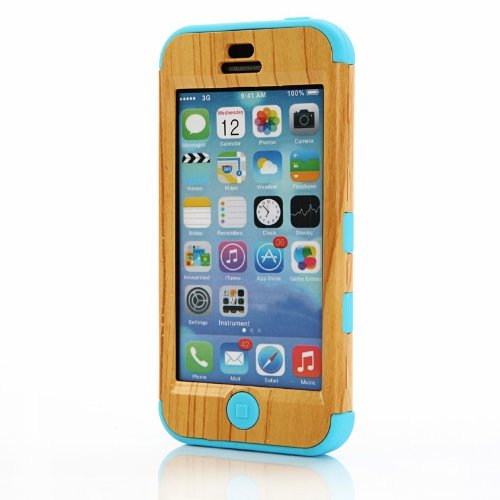 Gaogao Unique Handmade Natural Wood [Silicon]wooden Hard Bamboo Case Cover for Iphone 5c with High Quality Screen Protector/blue