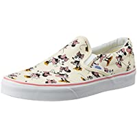 Vans Unisex Classic Slip-On (Disney) Minniemouse and Classic white Canvas Loafers and Moccasins - 3 UK