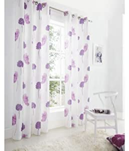 """Pair Of Florence Purple Floral 57"""" X 72"""" Lined Ring Top Curtains # Denil Ynacsut by PCJ SUPPLIES"""