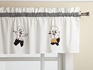 LORRAINE HOME FASHIONS Cheers Chef Print Kitchen Curtains By Lorraine Home Fashions at Sears.com