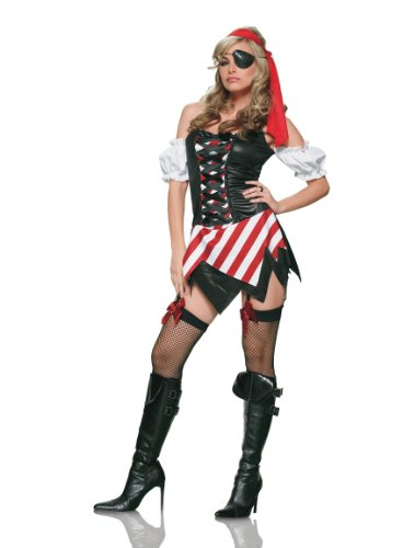 Halloween Costumes: 3PC. Pirate's first mate costume - 83142(BLACK/MULTIC...