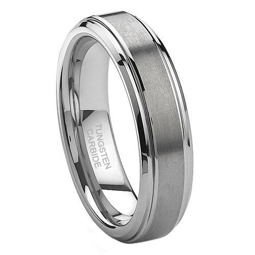6 mm (1/4 in) Brushed and Polished Tungsten Carbide