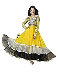 Ecoco Fashion Women's Net Anarkali UnStitched Dress Materials (ECOCO-OS33, Yellow)