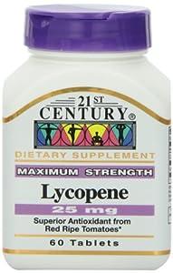 21st Century Health Care, Lycopene, Maximum Strength, 25 mg, 60 Tablets