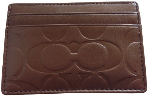 Coach   Coach Brown Tobacco Mahogany Water Buffalo Leather Money Clip Card Case Wallet
