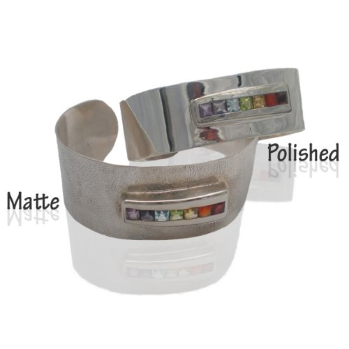 Sterling Silver Chakra Cubic Zirconia Gem Stone Cuff Bracelet - Polished