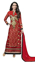 Sree Impex Women Georgette Semi Stitched Designer Salwar Suit Dress Material (SI-SK-29_Red_Free Size)