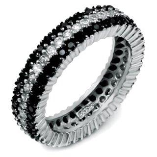 Godiva's Fine Black & White Cubic Zirconia Eternity Ring - 5