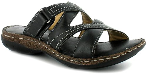 Womens/Ladies Black Soft Leather Strappy Mule