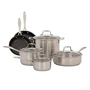 Green Cookware Set American Kitchen 10 Piece Stainless