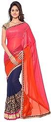 WXW Fashion Premium Orange & Blue & Pink Georgette Saree with Blouse Piece