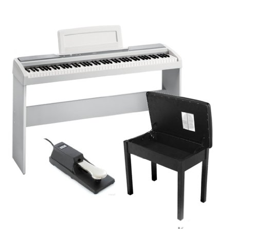 Full Stylish Keyboard Package: Korg Sp170S 88-Key White Digital Piano With Korg White Stand For The Sp170S, On Stage Piano Bench, On Stage Keyboard Sustain Pedal