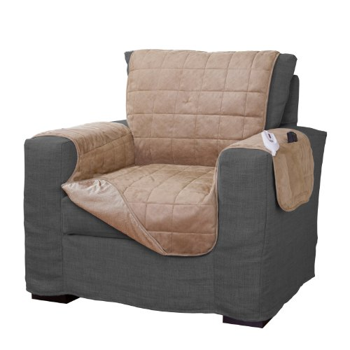 Serta Microsuede Diamond Quilted Electric Warming Furniture Chair Protector, Camel (Electric Chairs compare prices)