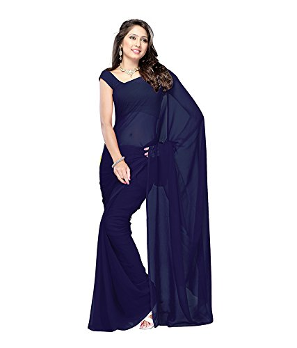 Lovely Look Latest collection of Plain Sarees in Georgette Fabric & in attractive Navy Blue Color