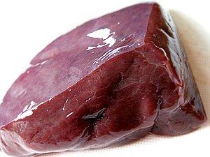 北海道産 牛生レバー お一人様用 (約85g-115g) ×5袋 (真空パック冷凍)