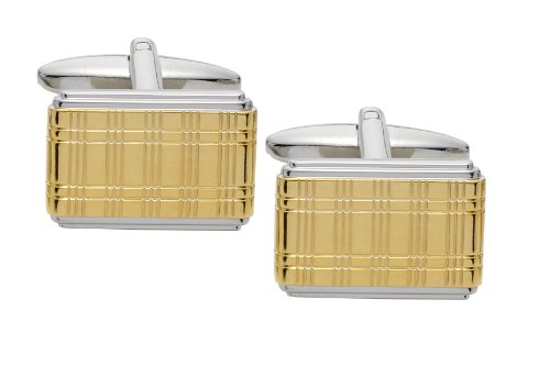 Code Red Imitation Rhodium and Gold Plated Cufflinks with Laser Engraved Tartan Pattern