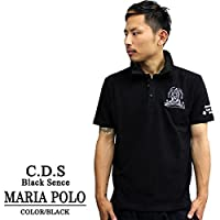 3333 COOL DRIVE STRIKER/クールドライブストライカー 半袖刺繍ポロシャツ マリア /黒・白 ブラック