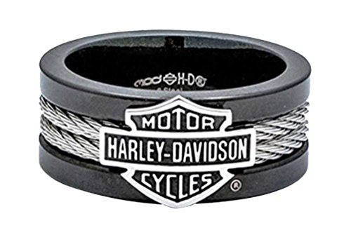 Harley-Davidson Men's Ring, Bar & Shield Steel Cable Band, Black HSR0021 (14) ...