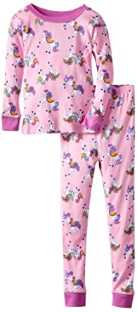 New Jammies Big Girls'  Organic Pajama Pretty Ponies, Pink, 12