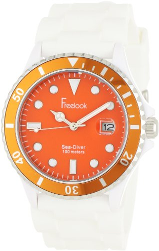 Freelook Men's HA1433-7H Sea Diver Jelly White Silicone Band with Orange Dial Watch