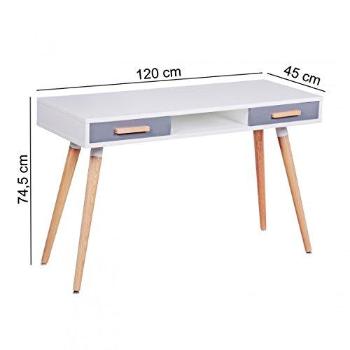 Finebuy schreibtisch mdf retro holztisch 120cm breit for Schreibtisch skandinavisches design