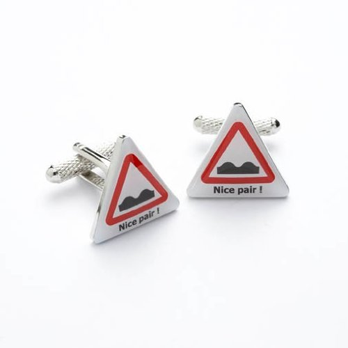 Men's Funny Novelty Stainless Steel Cufflinks For a Man of Few Words - Nice Pair