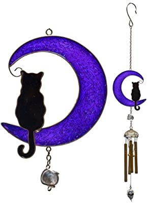Wind Chime Cat-on a-Moon Metallic Finish OGD211