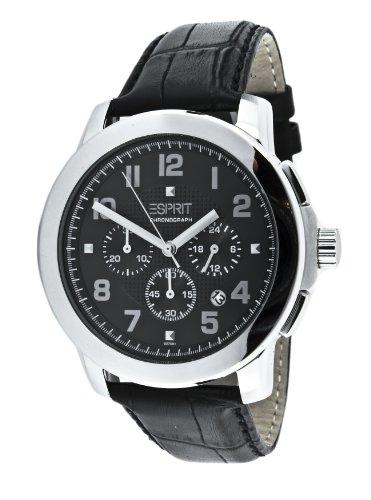 Esprit ES102751001 - Reloj analógico de cuarzo unisex con correa de piel, color negro