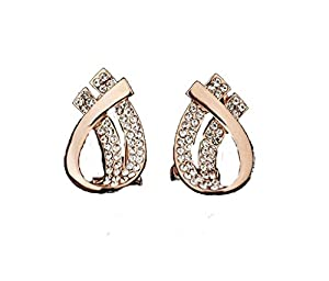 Italina Rigant Women's Rose Gold Plated With Austiran Rhinestones Unique Double Teardrop Post Earrings